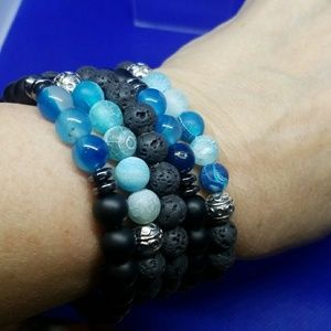 🍎3/$30🍎Bracelet Lava Rock Diffuser Black Blue